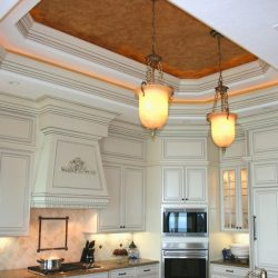 Kitchen Renovation - Ceiling Cutouts with Heavy Molding and Faux Paint Finish